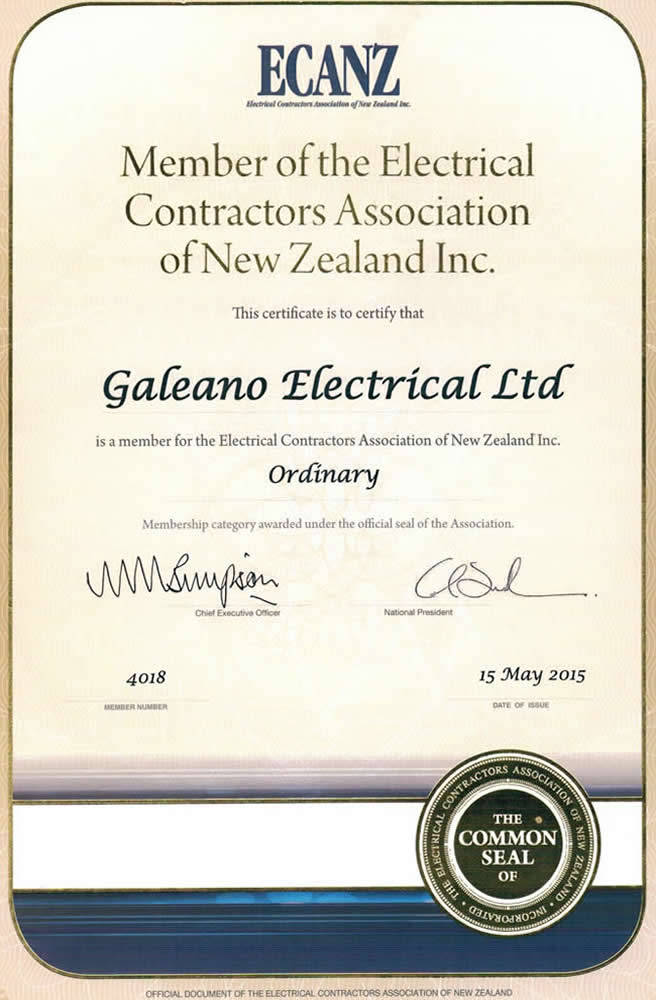 ECANZ Membership Certificate Of Galeano Electrical Marlborough NZ