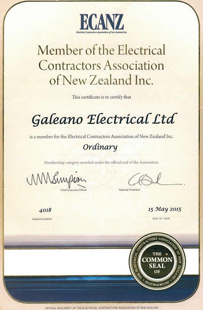 ECANZ Membership Certificate Of Galeano Electrical Marlborough NZ