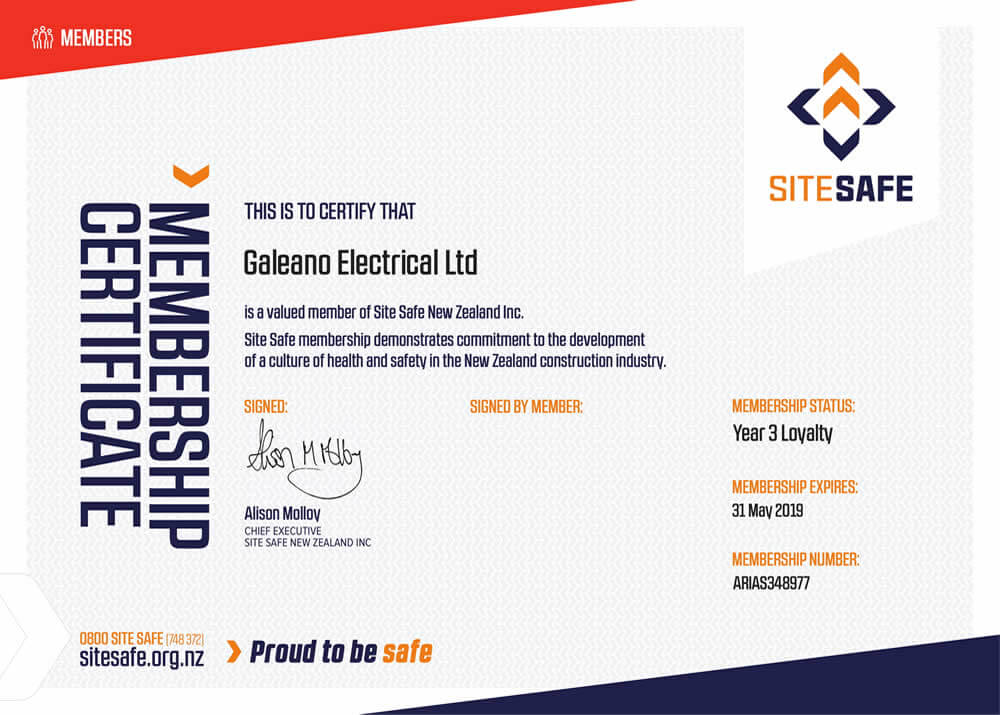 Site Safe Membership Certificate 2019 for Galeano Electrical Marlborough