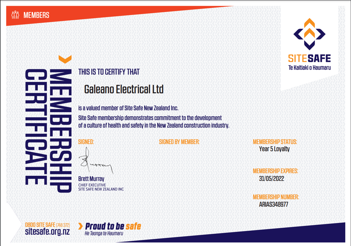 Site Safe Membership Certificate 2019 for Galeano Electrical Marlborough